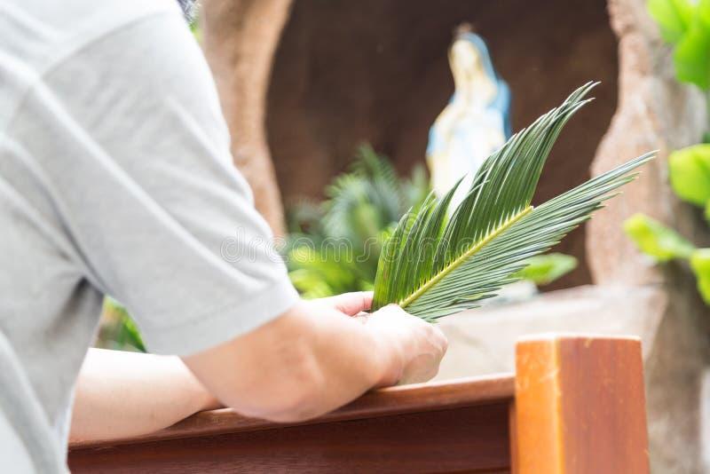 Genuflexión de los feligreses que se sostiene de hoja de palma delante de gruta de-enfocada imagen de archivo
