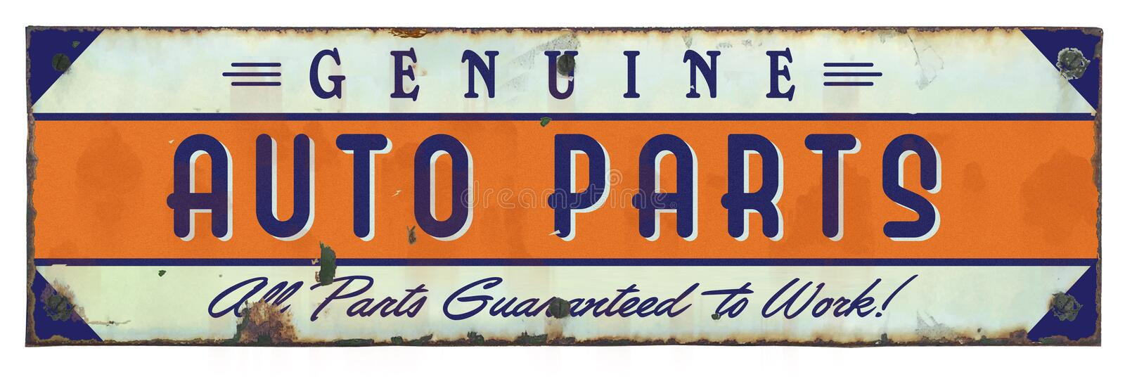 Genuine Auto Parts Sign Grunge Vintage stock photo