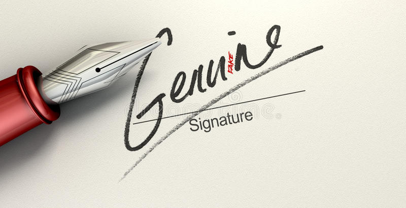 Genuine Fake Signature. A deceptive concept showing a pen having just written on a white paper a signature that reads genuine but reads fake with a closer look royalty free stock photos