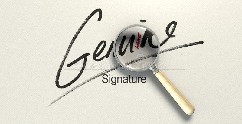 Genuine Fake Signature. A deceptive concept showing a white paper with a signature that reads genuine but under a magnifying glass reads fake with a closer look royalty free stock photo