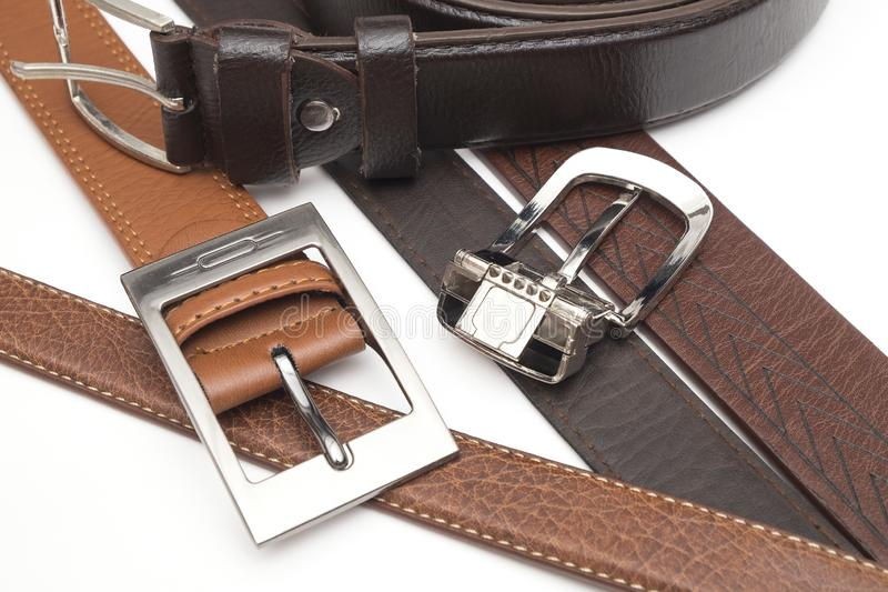Genuine Leather Belt on the iSolated White Background royalty free stock photography