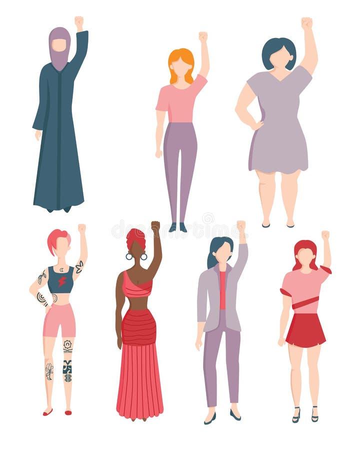Genus för vektorkvinnaagains en rasdiskriminering vektor illustrationer