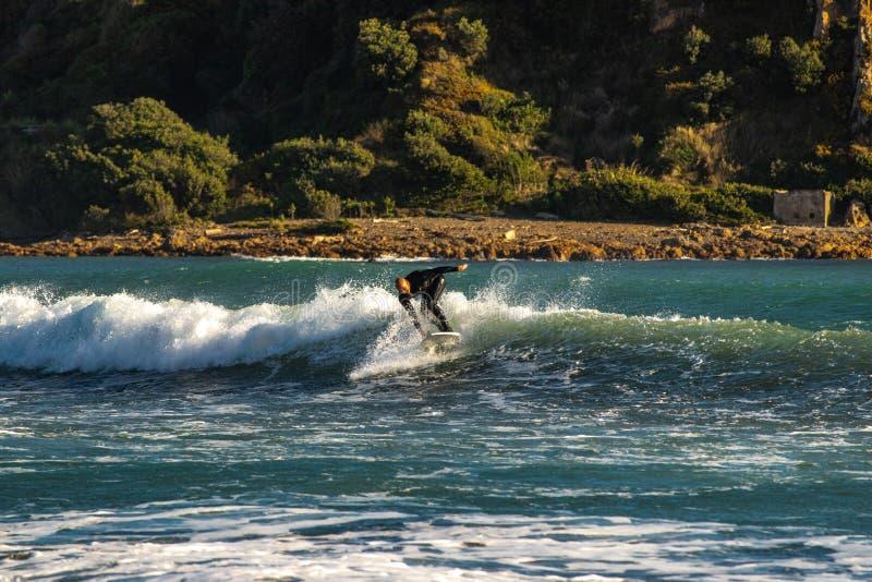 Genuss beim Fangen einer Welle stockfotografie