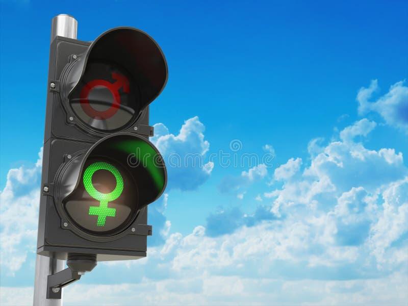 Genussexsymbol av män och kvinnor på trafikljus, könsdiskrimineringdesc stock illustrationer