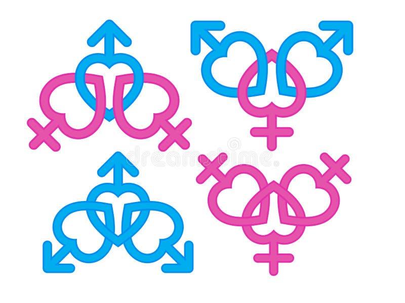 Genussymbol: Manlig och kvinnlig symbolkombination stock illustrationer