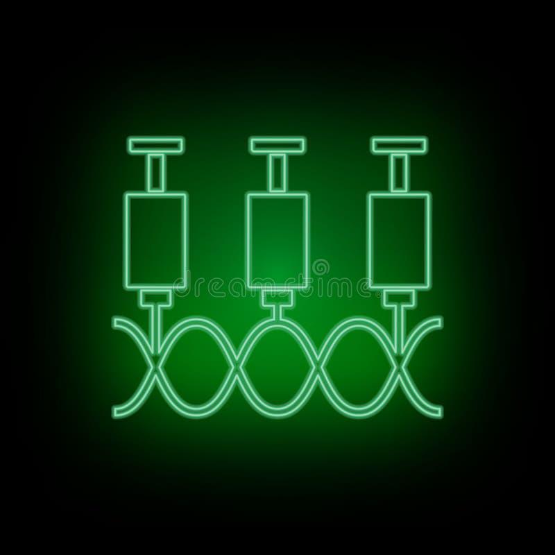 Geny, strzykawka, ikona, neonowa Biotechnologia i nauka, Chemiczny laboratorium Może być używa infographic i presendation - Wekto royalty ilustracja