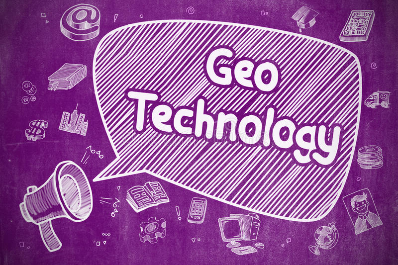 Geo技术-在紫色黑板的动画片例证 皇族释放例证