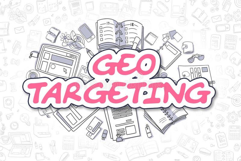 Geo瞄准-乱画洋红色词 到达天空的企业概念金黄回归键所有权 向量例证