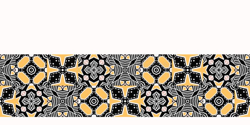 Geo лоскутного одеяла смелой руки вычерченное Предпосылка картины границы вектора безшовная Иллюстрация симметрии геометрическая  иллюстрация вектора