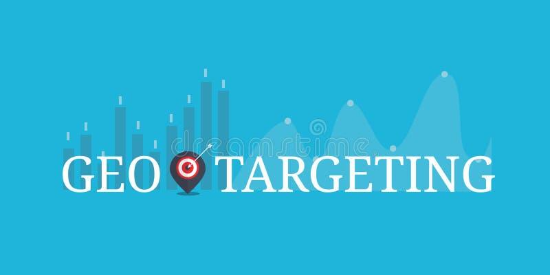 Geo celuje, globalny marketing, mapa z cel ikoną, teksta słowa pojęcie Płaski projekta wektoru sztandar ilustracji