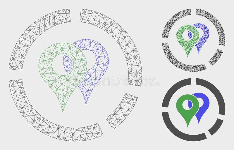 Geo Diagram Vector Mesh 2D Model and Triangle Mosaic Icon. Mesh geo diagram model with triangle mosaic icon. Wire frame polygonal mesh of geo diagram. Vector royalty free illustration