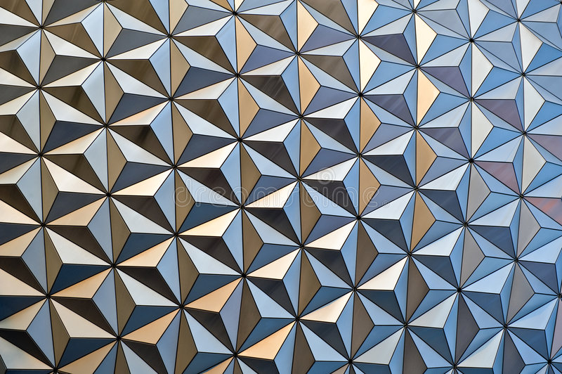 Geo Dome Detail. Close up of geo dome detail from Epcot center structure stock image