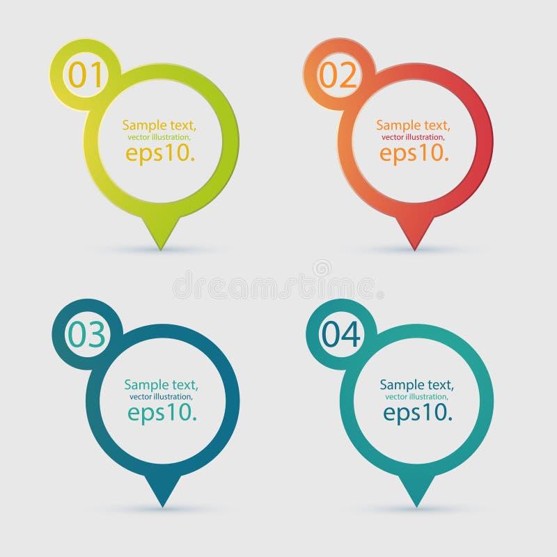 Geo etikett Pin Icon Vector Set royaltyfri illustrationer