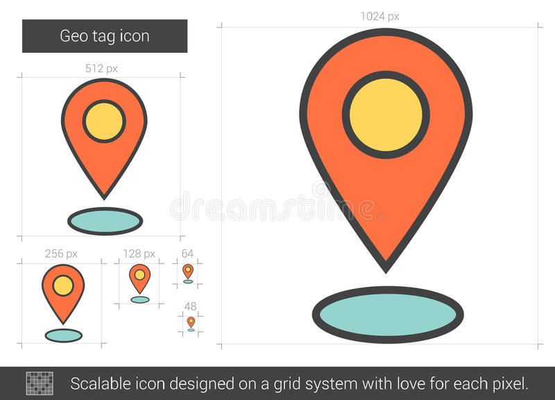 Geo etikettslinje symbol royaltyfri illustrationer