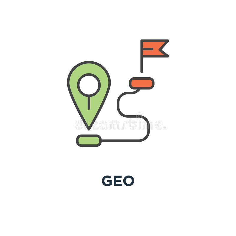 Geo icon. gps location tag or pointer concept symbol design, proximity, global network connection, location, navigation way or. Road to target point, outline stock illustration