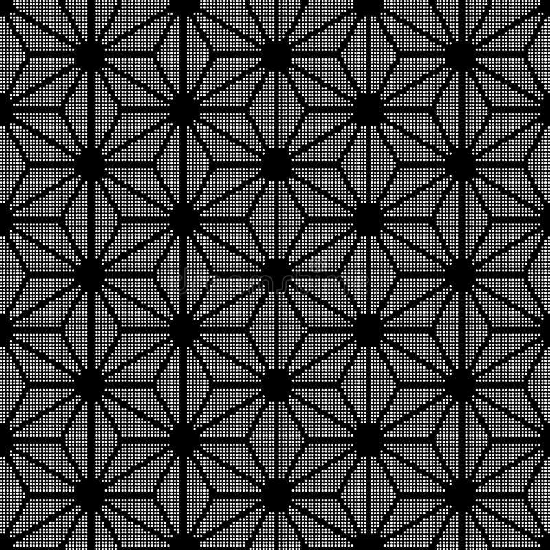 Geo inconsútil negro redondo de semitono de la cruz del triángulo de la estrella del fondo stock de ilustración