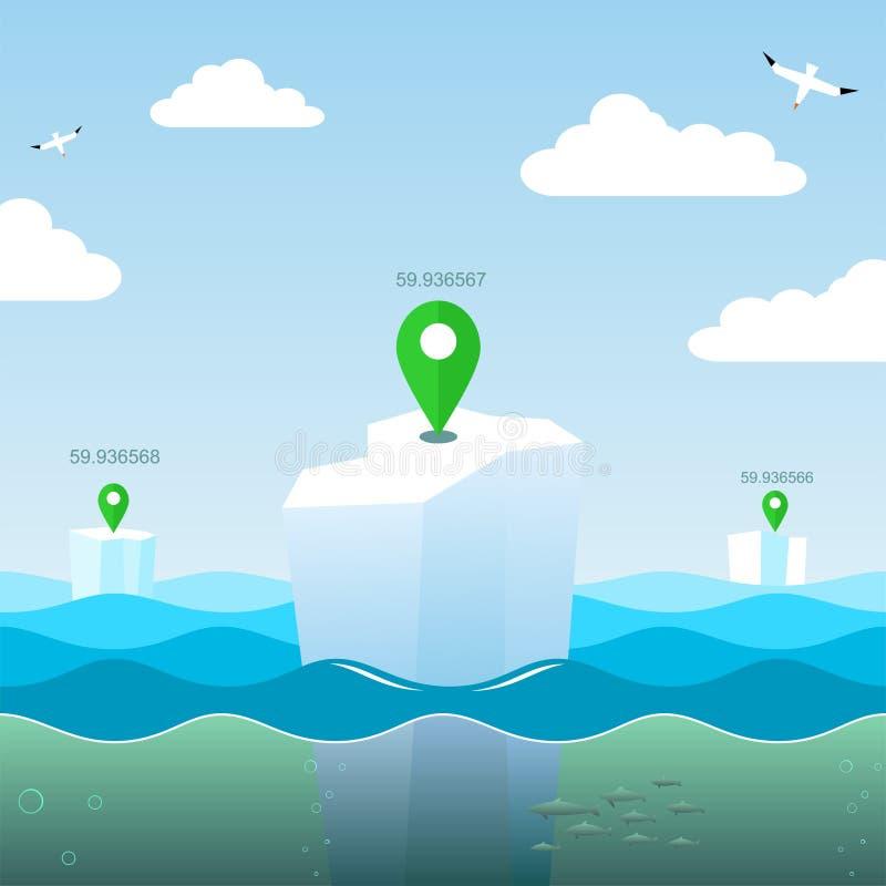 Geo koordinater på havet royaltyfri illustrationer