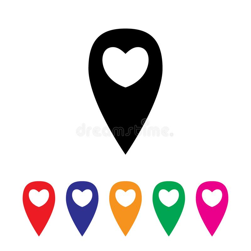 Geo lokacji znak z sercem royalty ilustracja