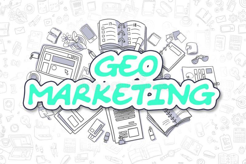 Geo marknadsföring - grön text för tecknad film äganderätt för home tangent för affärsidé som guld- ner skyen till stock illustrationer