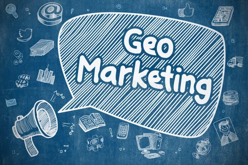 Geo marknadsföring - klotterillustration på den blåa svart tavlan vektor illustrationer