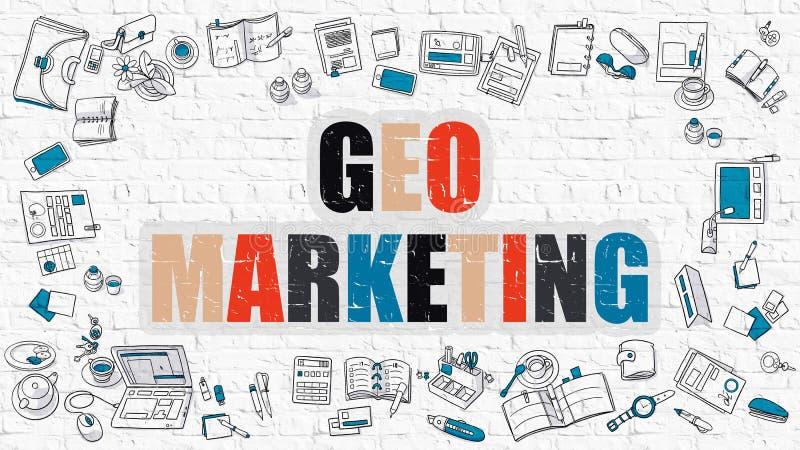 Geo marknadsföring på den vita tegelstenväggen royaltyfri illustrationer