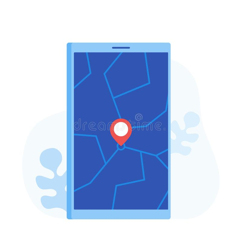 Geo Pin Tag On Mobile Phone Display  Stock Vector
