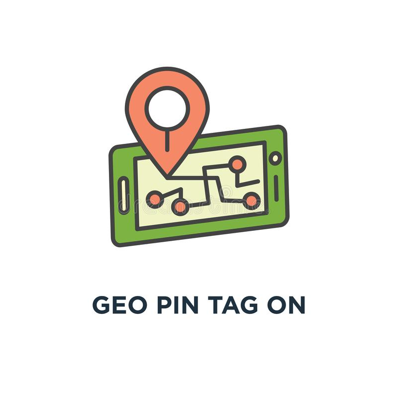 Geo pin tag on mobile phone display, smartphone with map on screen, gps icon. destination concept symbol design, traveling, map. Navigation, location, road stock illustration