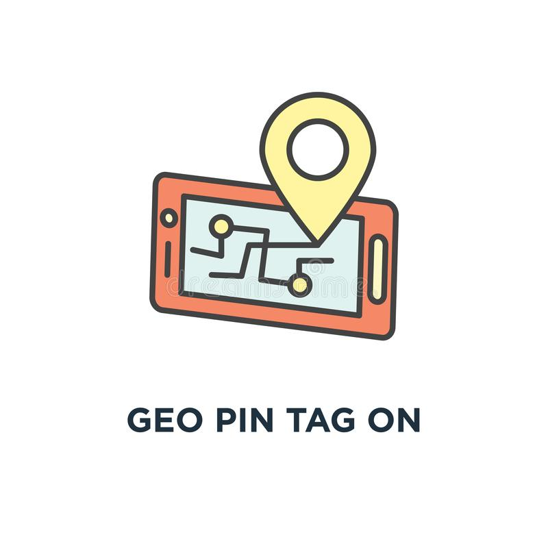 Geo pin tag on mobile phone display, smartphone with map on screen, gps icon. destination concept symbol design, traveling, map. Navigation, location, road vector illustration