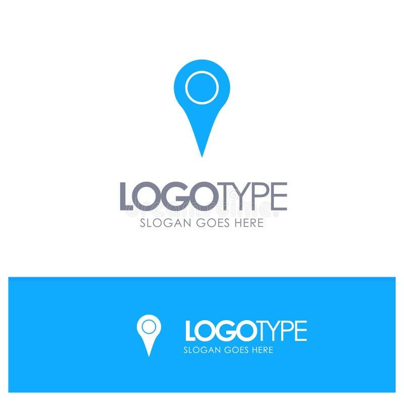Geo-plaats, Plaats, Kaart, Pin Blue Solid Logo met plaats voor tagline royalty-vrije illustratie
