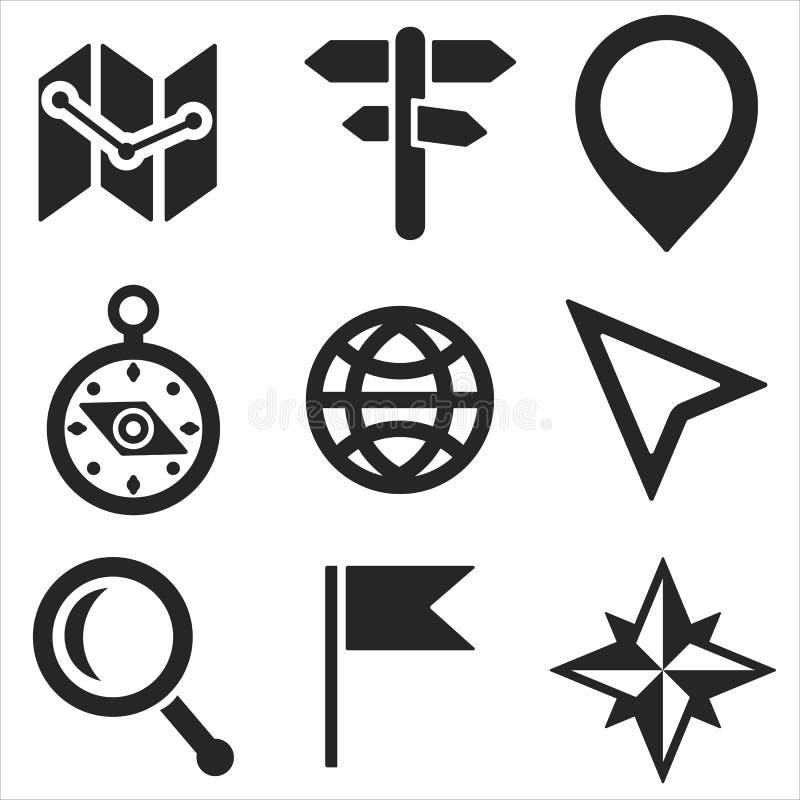 Geo rengöringsduk och mobilsymbolsuppsättning vektor royaltyfri illustrationer