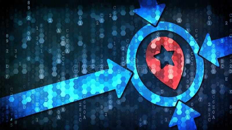 Geo som uppsätta som mål begrepp på mörk Digital bakgrund stock illustrationer