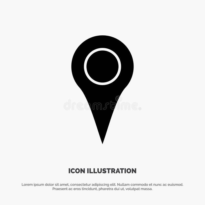 Geo-Standort, Standort, Karte, Glyph-Ikonenvektor Pin fester lizenzfreie abbildung