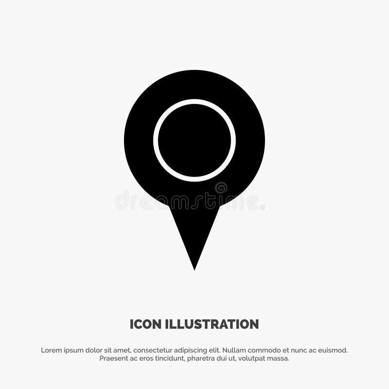Geo-Standort, Standort, Karte, Glyph-Ikonenvektor Pin fester stock abbildung