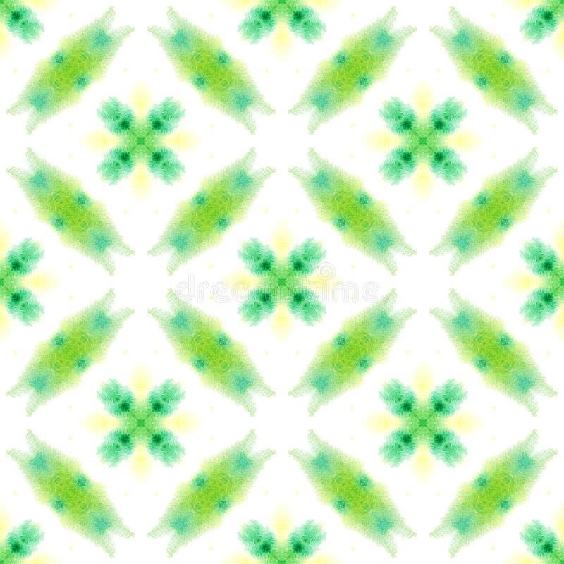 Ikat, Tie Dye, Batik, Hand Drawn Ornament. Geo Surface. Endless Repeat Painting.  Ikat, Tie Dye, Batik, Hand Drawn Ornament. Green, Lime, Mint Native Modern stock illustration