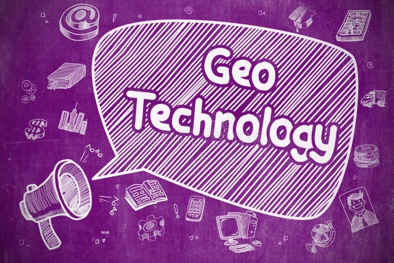 Geo teknologi - tecknad filmillustration på den purpurfärgade svart tavlan royaltyfri illustrationer