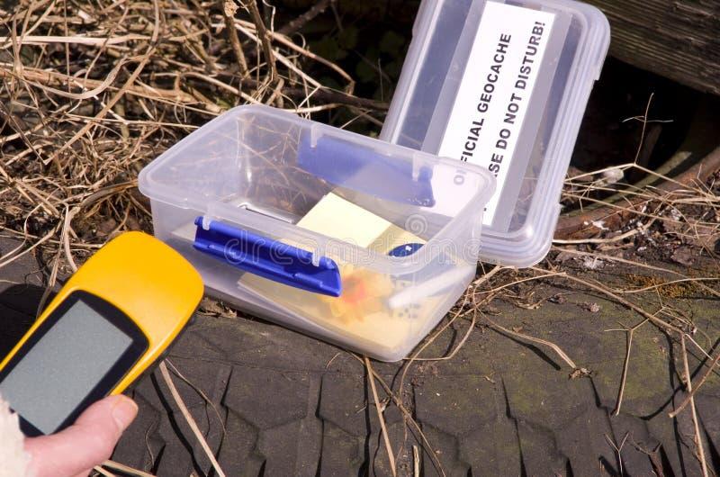 Geocache i GPS przyrząd zdjęcie stock