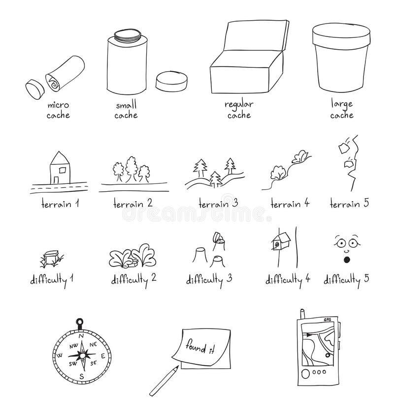 Geocaching outline illustration