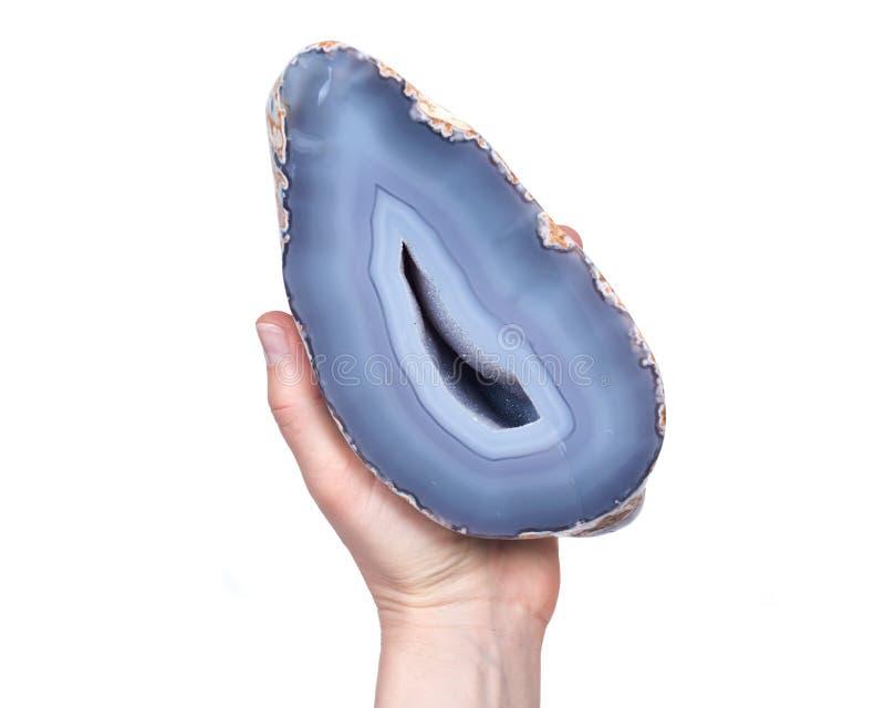 Geoda azul parcialmente pulida de la ágata del cordón imagen de archivo