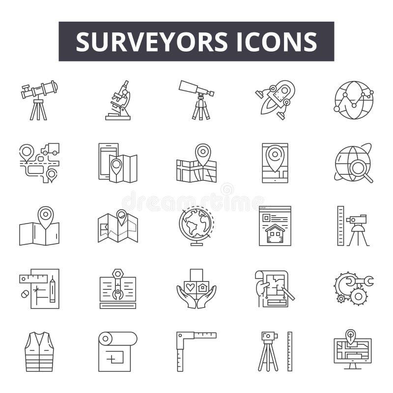Geodeci wykładają ikony, znaki, wektoru set, liniowy pojęcie, kontur ilustracja ilustracji