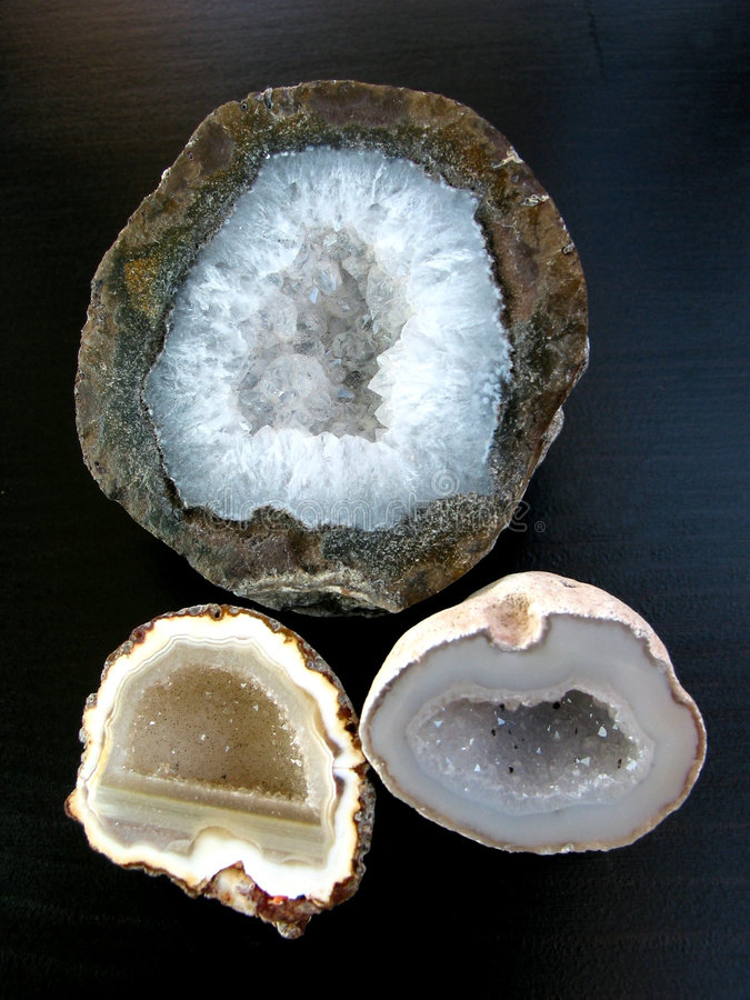 Geodes on black background royalty free stock images