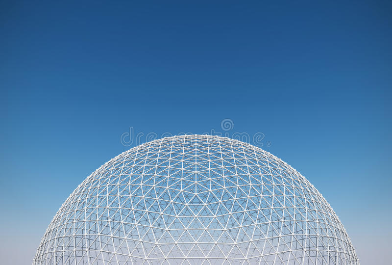Geodesic dome. Transparent roofing construction royalty free stock photography