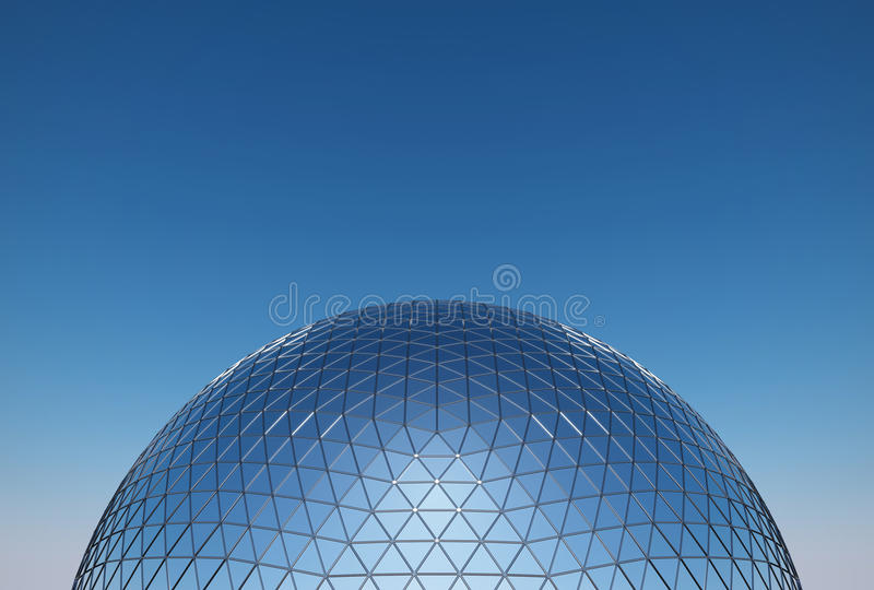 Geodesic dome. Glass and steel construction royalty free stock photography