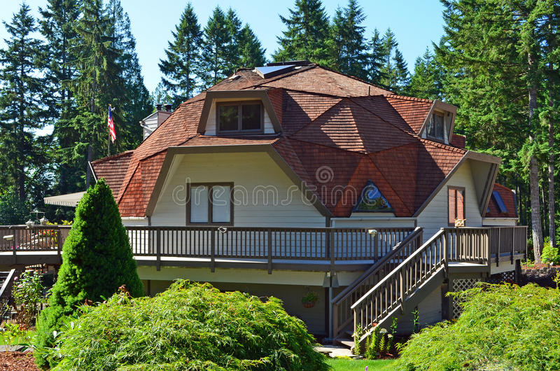 Geodesic Dome House. On wooded land royalty free stock photography