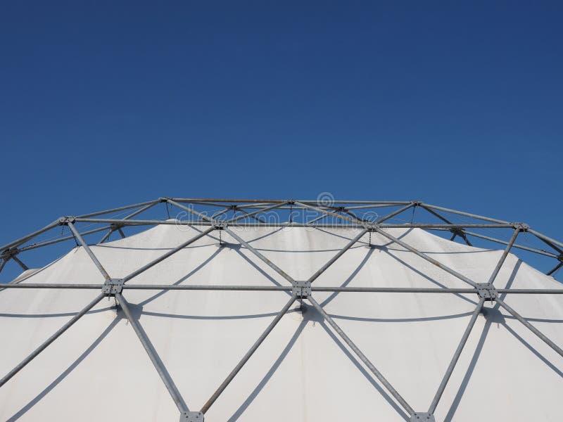 geodesic exoskeleton tensile dome structure stock photo