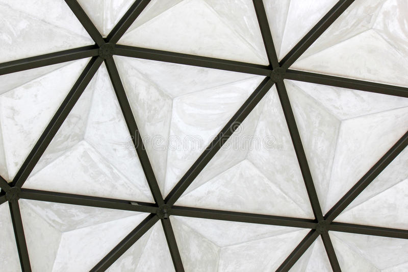 Geodesic fiberglass dome roof structure. Texture and background royalty free stock image