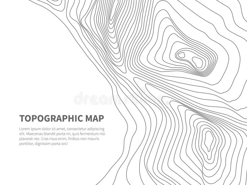Geodesy contouring land. Topographical line map. Geographic mountain contours vector background stock illustration