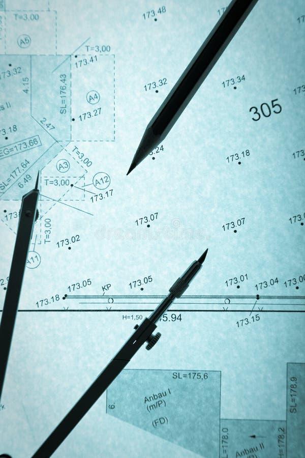geodeta błękitny okręgu ołówka planu s geodeta zdjęcie stock