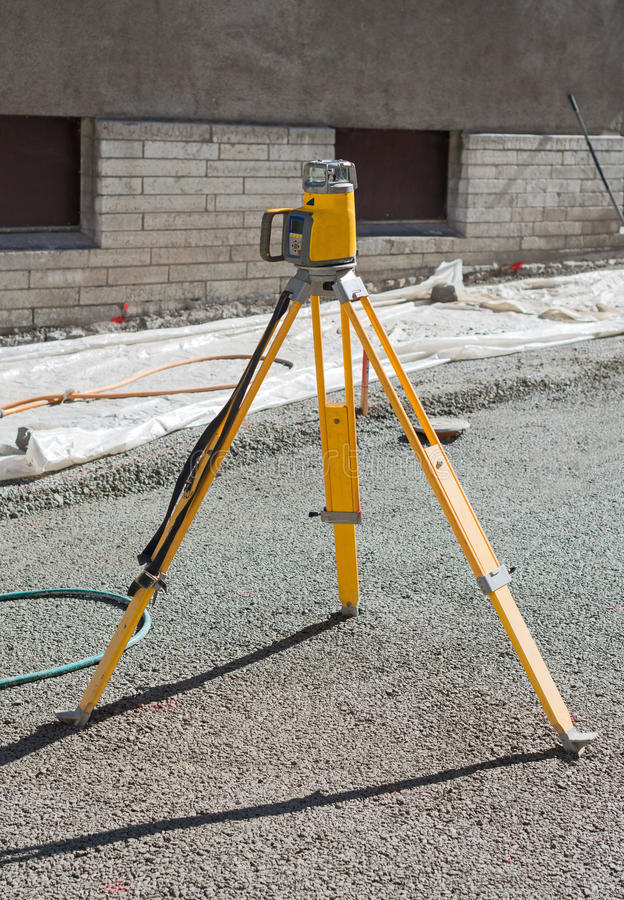 Geodetic device. Geodetic device on the construction site royalty free stock photography