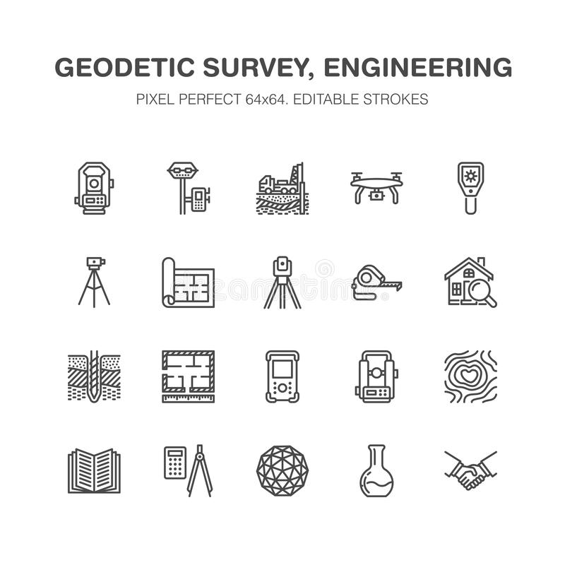 Geodetic survey engineering vector flat line icons. Geodesy. Equipment, tacheometer, theodolite, tripod. Geological research, building measurements vector illustration