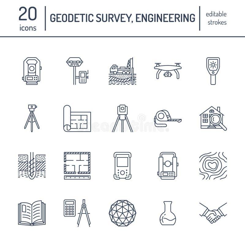 Geodetic survey engineering vector flat line icons. Geodesy equipment, tacheometer, theodolite, tripod. Geological royalty free illustration
